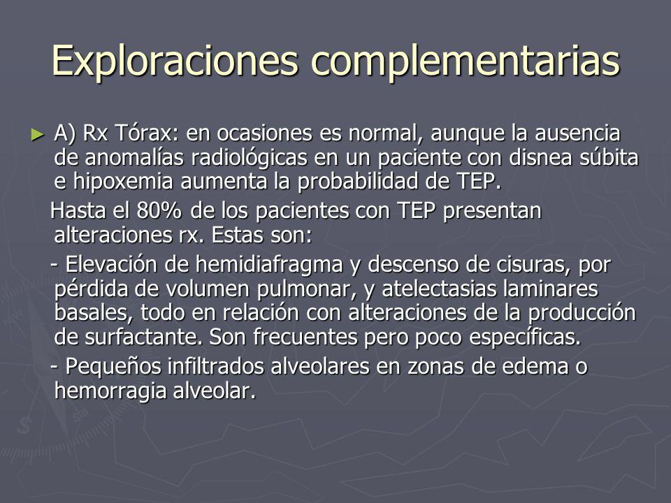 Exploraciones complementarias A) Rx Tórax: en ocasiones es normal, aunque la ausencia de anomalías radiológicas en un paciente con disnea súbita e hip