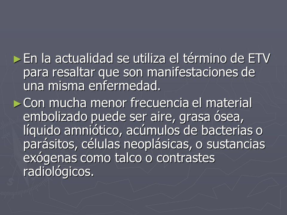 Enfermedad tromboembólica venosa Incidencia: 1 paciente por cada 1000 hab/año.(similar a la enfermedad vascular cerebral).