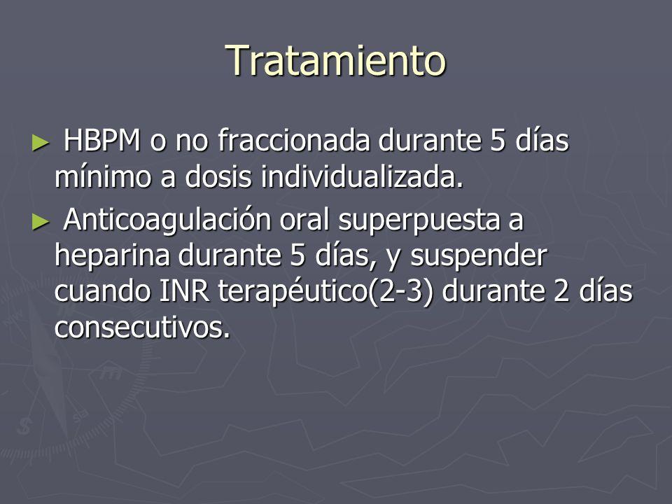 Tratamiento HBPM o no fraccionada durante 5 días mínimo a dosis individualizada. HBPM o no fraccionada durante 5 días mínimo a dosis individualizada.