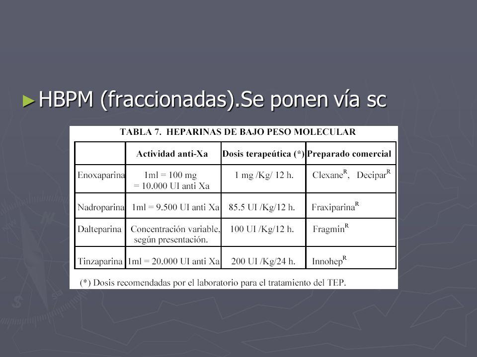 HBPM (fraccionadas).Se ponen vía sc HBPM (fraccionadas).Se ponen vía sc