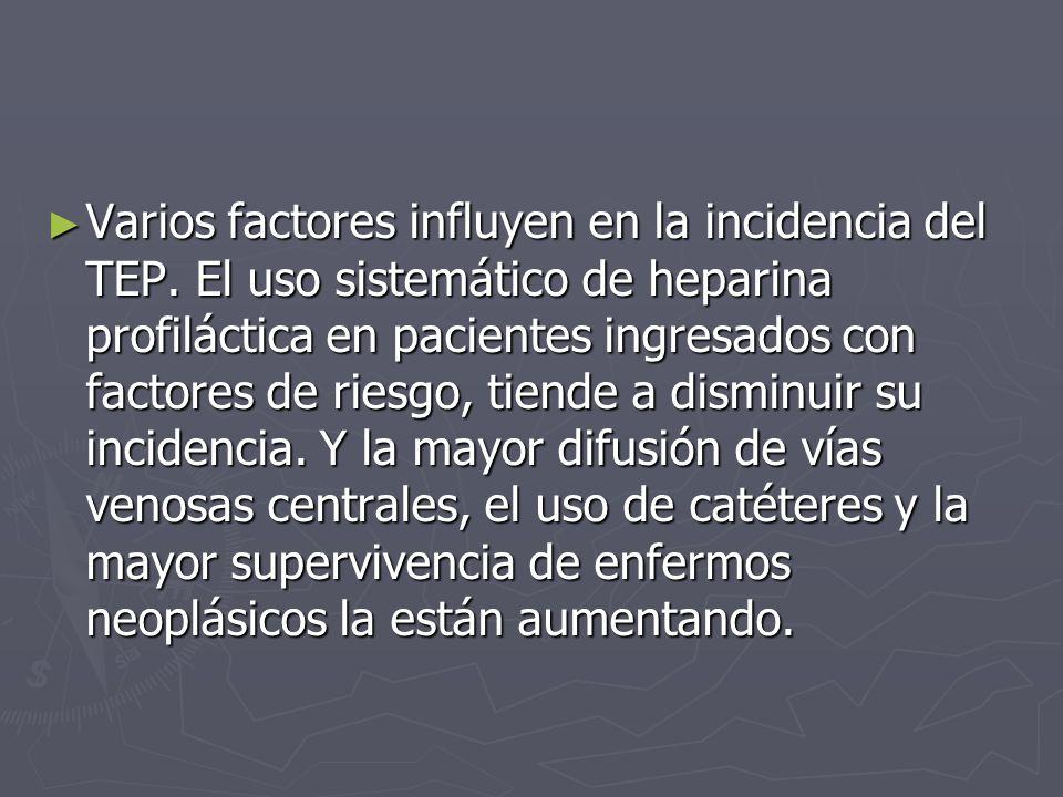 Varios factores influyen en la incidencia del TEP. El uso sistemático de heparina profiláctica en pacientes ingresados con factores de riesgo, tiende
