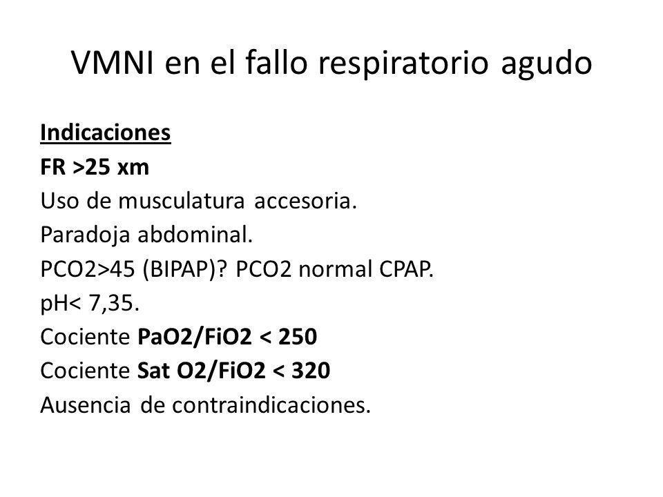 VMNI en el fallo respiratorio agudo Indicaciones FR >25 xm Uso de musculatura accesoria. Paradoja abdominal. PCO2>45 (BIPAP)? PCO2 normal CPAP. pH< 7,