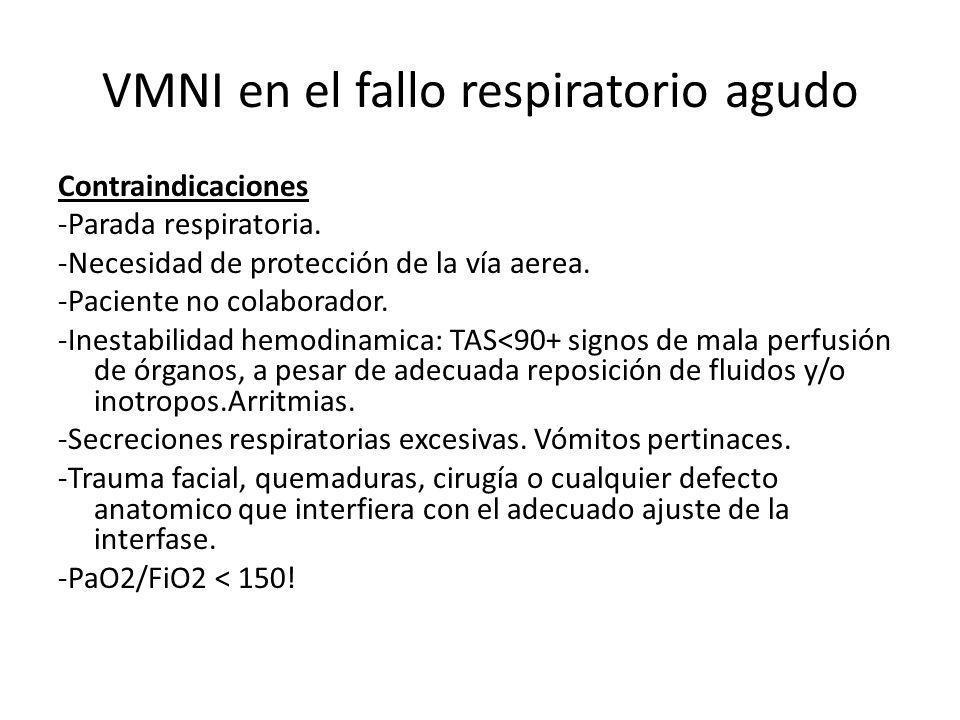 VMNI en el fallo respiratorio agudo Contraindicaciones -Parada respiratoria. -Necesidad de protección de la vía aerea. -Paciente no colaborador. -Ines