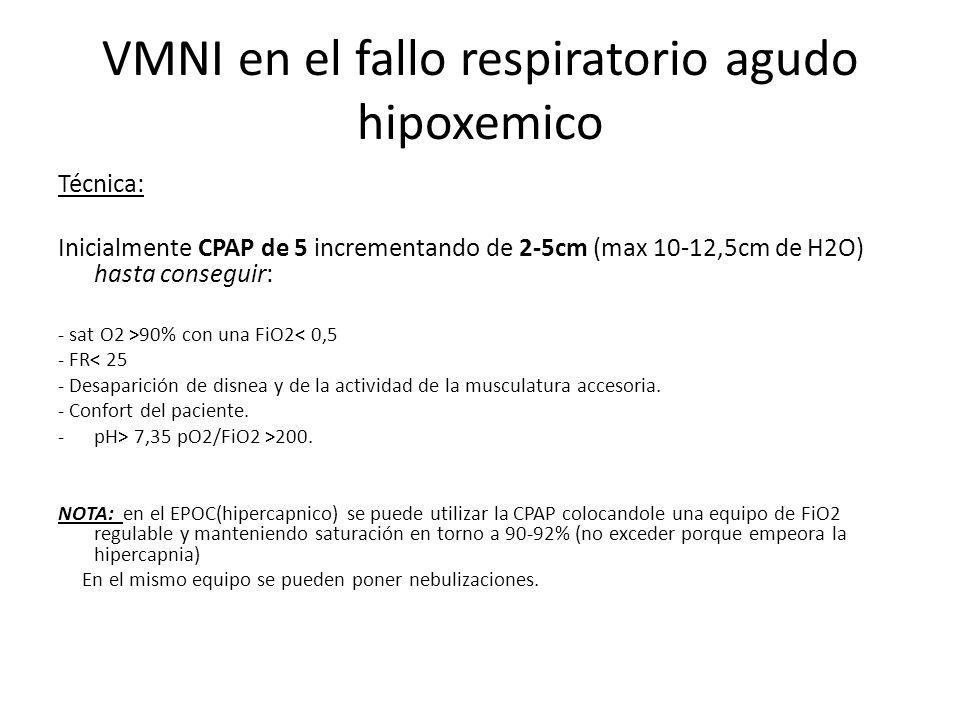 VMNI en el fallo respiratorio agudo hipoxemico Técnica: Inicialmente CPAP de 5 incrementando de 2-5cm (max 10-12,5cm de H2O) hasta conseguir: - sat O2