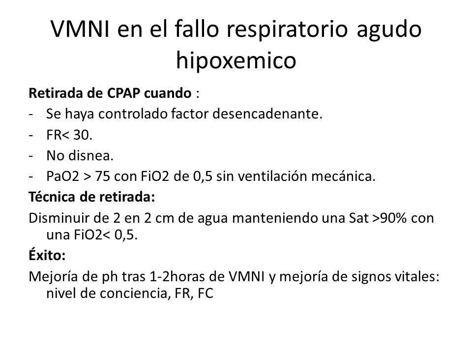 VMNI en el fallo respiratorio agudo hipoxemico Retirada de CPAP cuando : -Se haya controlado factor desencadenante. -FR< 30. -No disnea. -PaO2 > 75 co