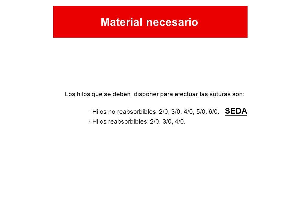 Los hilos que se deben disponer para efectuar las suturas son: - Hilos no reabsorbibles: 2/0, 3/0, 4/0, 5/0, 6/0. SEDA - Hilos reabsorbibles: 2/0, 3/0
