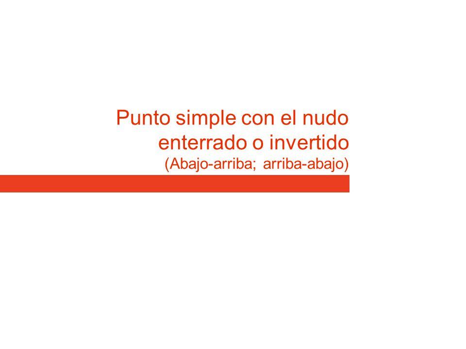Punto simple con el nudo enterrado o invertido (Abajo-arriba; arriba-abajo)