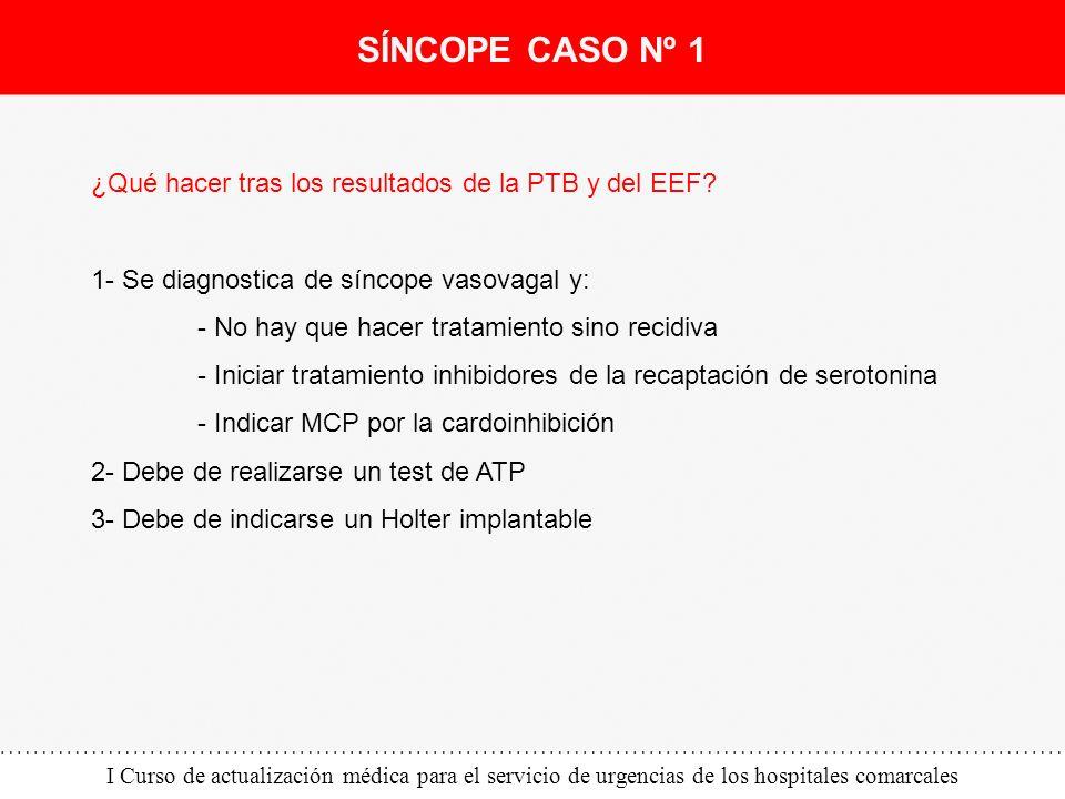 I Curso de actualización médica para el servicio de urgencias de los hospitales comarcales ¿Qué hacer tras los resultados de la PTB y del EEF? 1- Se d