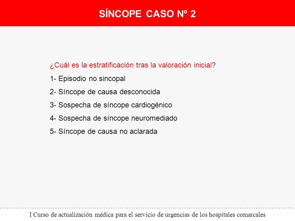 I Curso de actualización médica para el servicio de urgencias de los hospitales comarcales ¿Cuál es la estratificación tras la valoración inicial? 1-