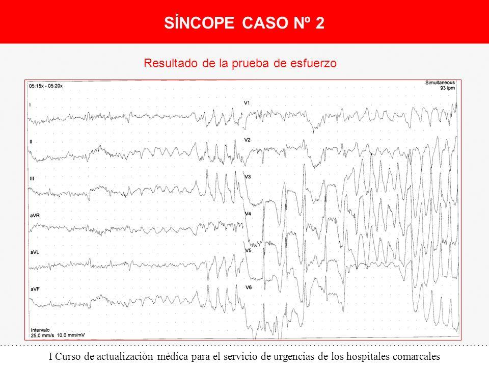 I Curso de actualización médica para el servicio de urgencias de los hospitales comarcales SÍNCOPE CASO Nº 2 Resultado de la prueba de esfuerzo