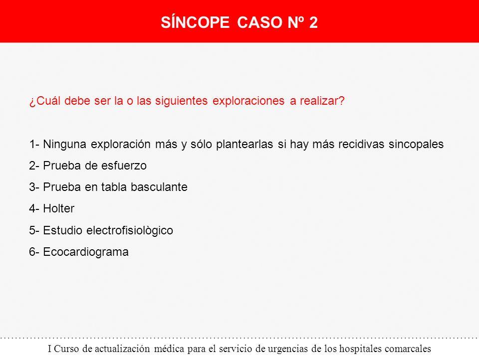 I Curso de actualización médica para el servicio de urgencias de los hospitales comarcales ¿Cuál debe ser la o las siguientes exploraciones a realizar