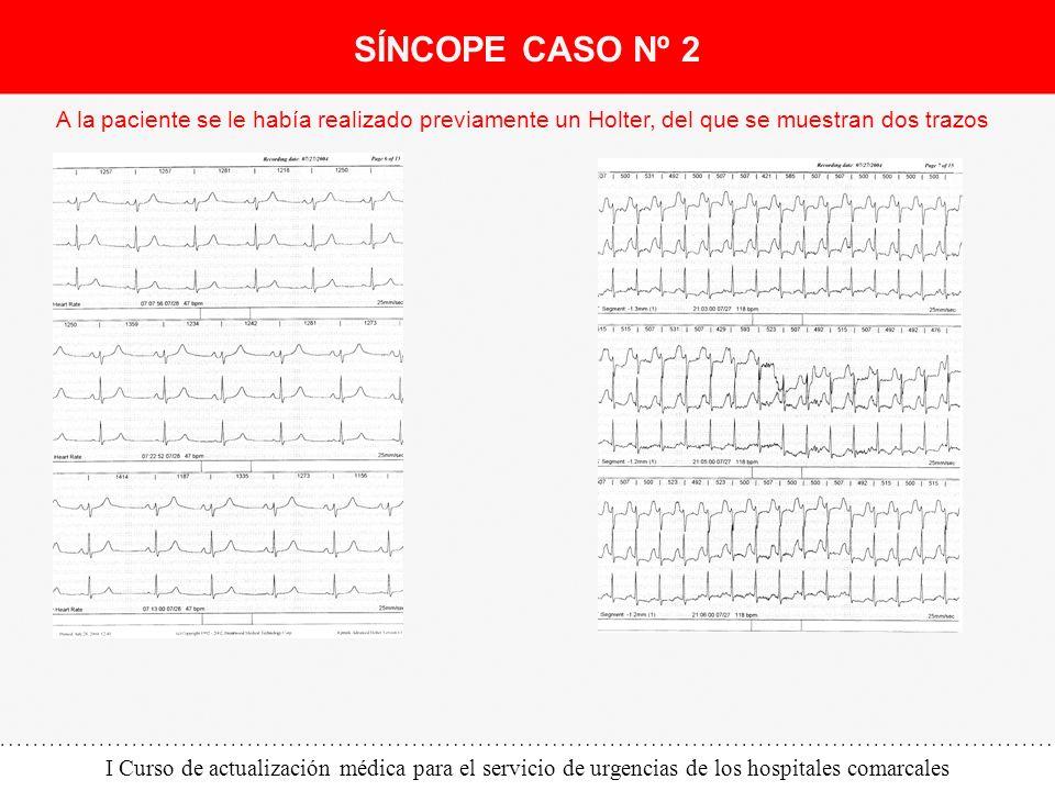 I Curso de actualización médica para el servicio de urgencias de los hospitales comarcales A la paciente se le había realizado previamente un Holter,