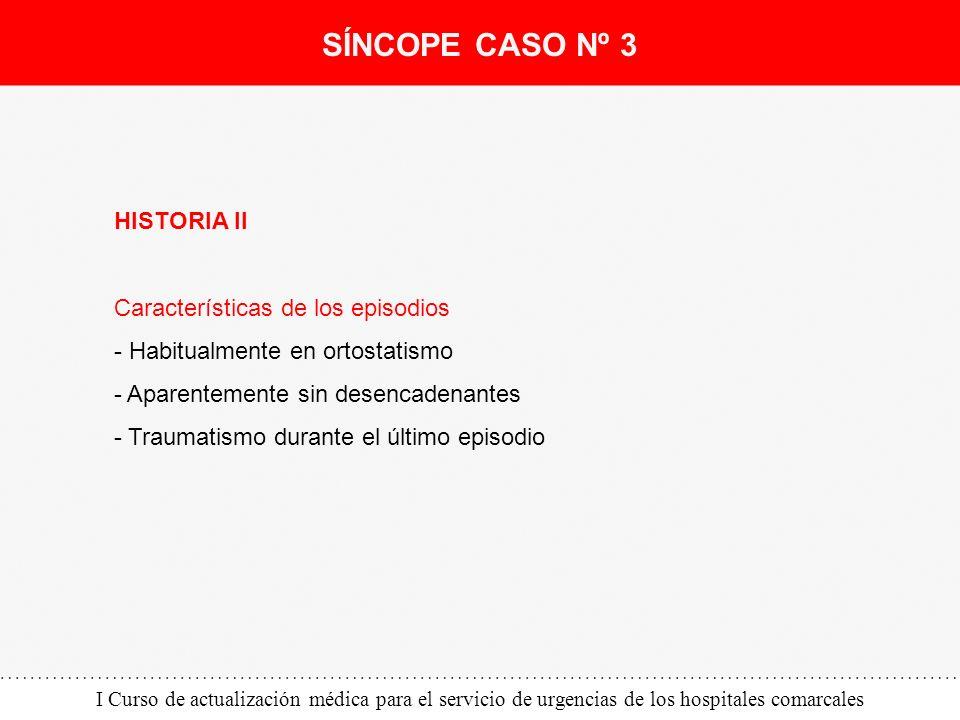 I Curso de actualización médica para el servicio de urgencias de los hospitales comarcales HISTORIA II Características de los episodios - Habitualment