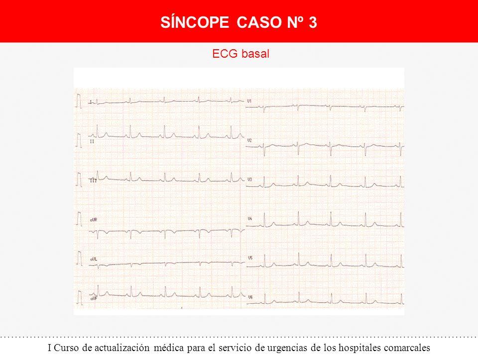 I Curso de actualización médica para el servicio de urgencias de los hospitales comarcales ECG basal SÍNCOPE CASO Nº 3