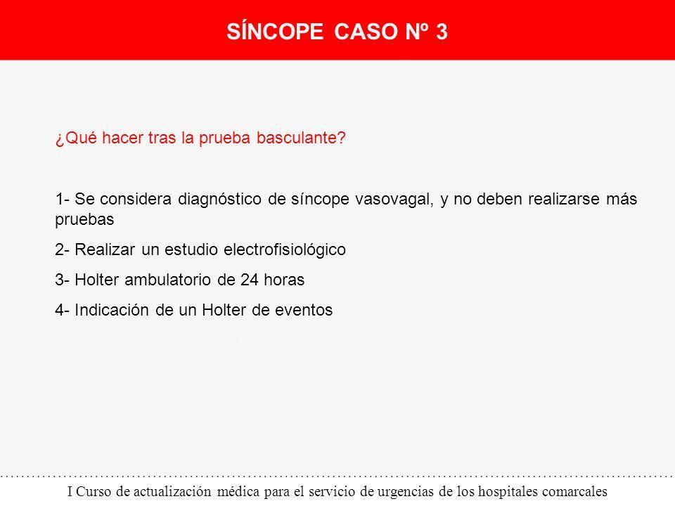I Curso de actualización médica para el servicio de urgencias de los hospitales comarcales ¿Qué hacer tras la prueba basculante? 1- Se considera diagn