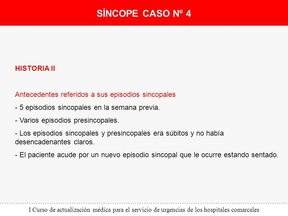 I Curso de actualización médica para el servicio de urgencias de los hospitales comarcales HISTORIA II Antecedentes referidos a sus episodios sincopal
