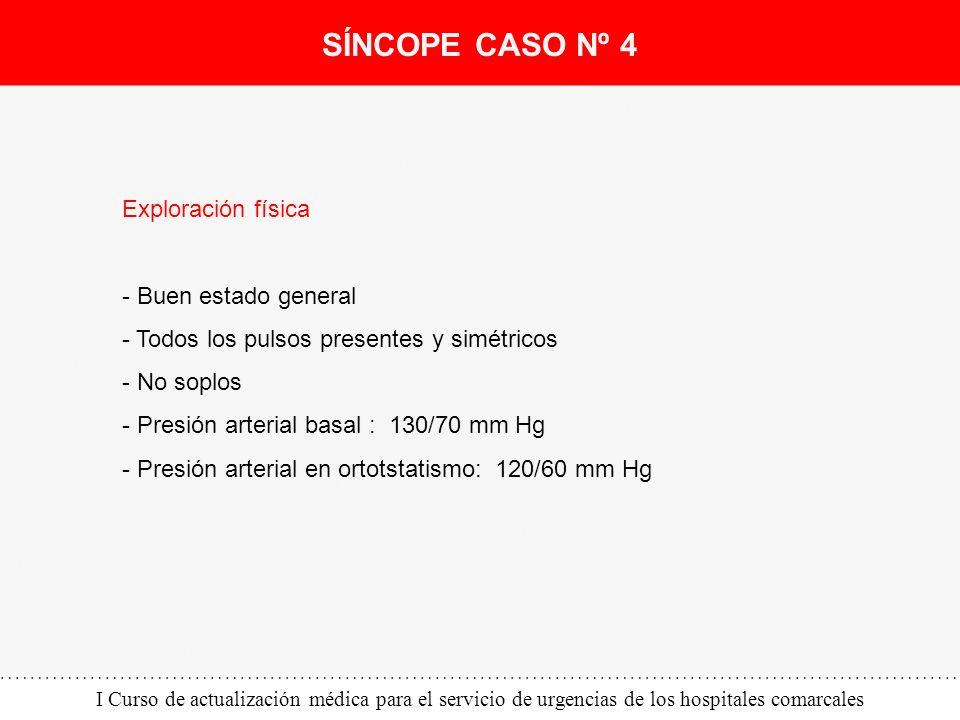 I Curso de actualización médica para el servicio de urgencias de los hospitales comarcales Exploración física - Buen estado general - Todos los pulsos