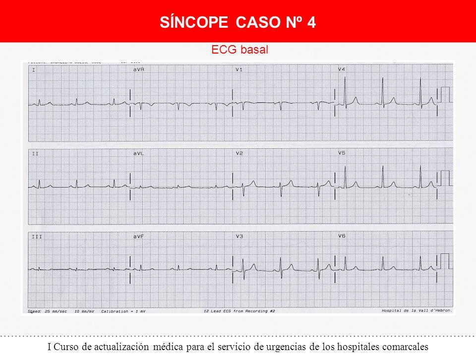 I Curso de actualización médica para el servicio de urgencias de los hospitales comarcales ECG basal SÍNCOPE CASO Nº 4
