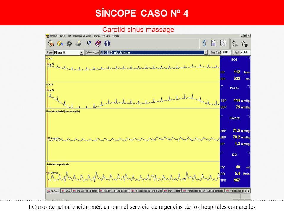 I Curso de actualización médica para el servicio de urgencias de los hospitales comarcales Carotid sinus massage SÍNCOPE CASO Nº 4