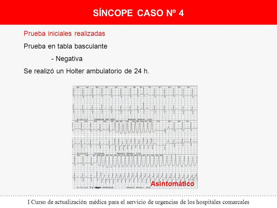 I Curso de actualización médica para el servicio de urgencias de los hospitales comarcales Prueba iniciales realizadas Prueba en tabla basculante - Ne