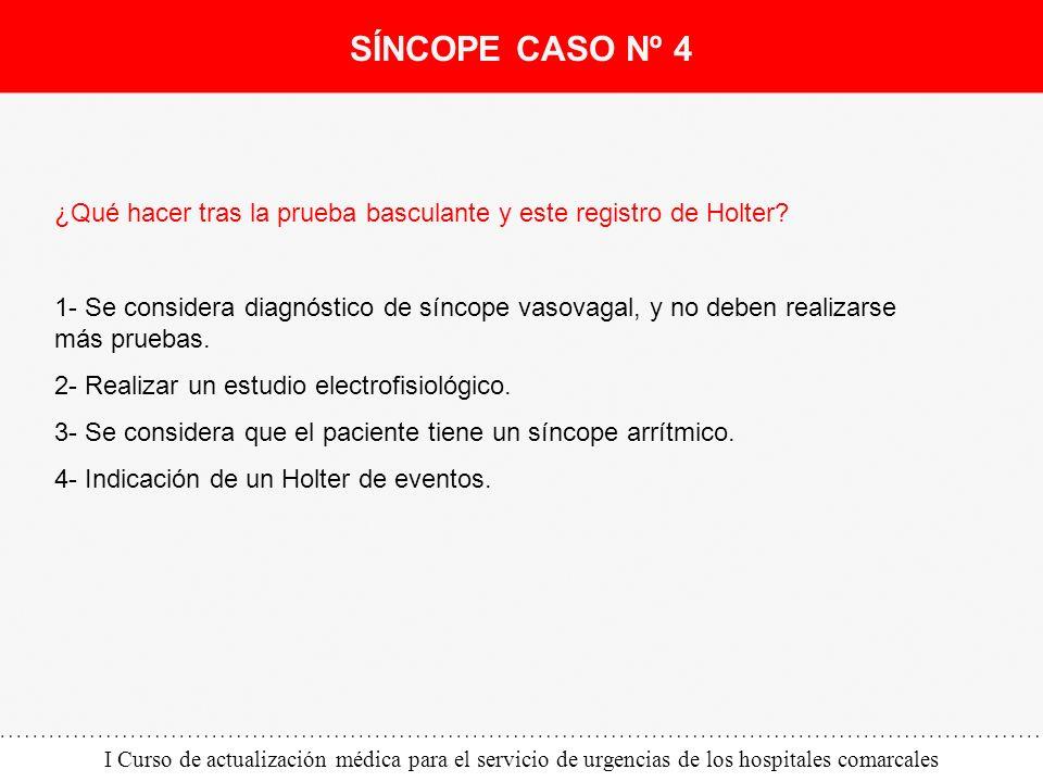 I Curso de actualización médica para el servicio de urgencias de los hospitales comarcales ¿Qué hacer tras la prueba basculante y este registro de Hol