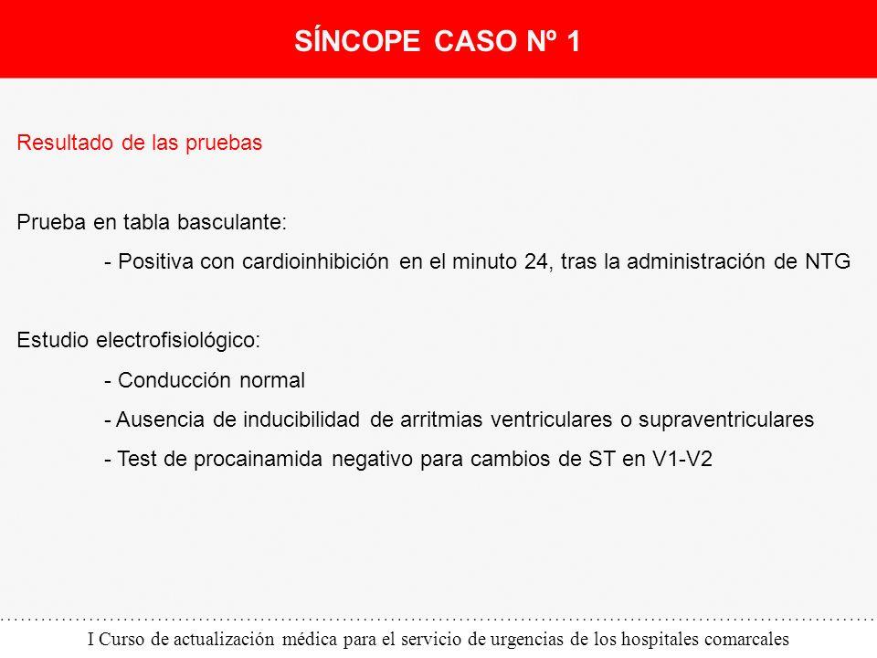 I Curso de actualización médica para el servicio de urgencias de los hospitales comarcales Resultado de las pruebas Prueba en tabla basculante: - Posi