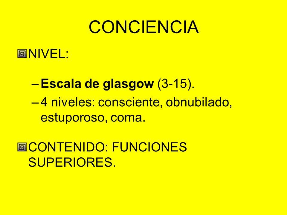 CONCIENCIA NIVEL: –Escala de glasgow (3-15). –4 niveles: consciente, obnubilado, estuporoso, coma. CONTENIDO: FUNCIONES SUPERIORES.