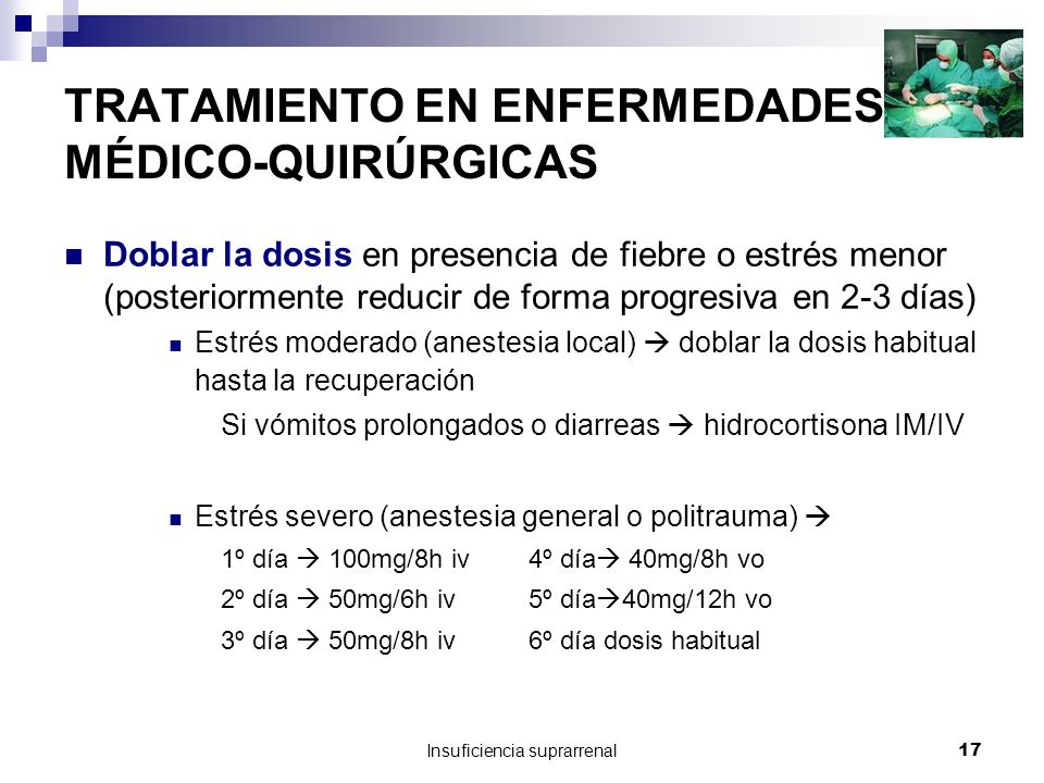 Insuficiencia suprarrenal17 TRATAMIENTO EN ENFERMEDADES MÉDICO-QUIRÚRGICAS Doblar la dosis en presencia de fiebre o estrés menor (posteriormente reducir de forma progresiva en 2-3 días) Estrés moderado (anestesia local) doblar la dosis habitual hasta la recuperación Si vómitos prolongados o diarreas hidrocortisona IM/IV Estrés severo (anestesia general o politrauma) 1º día 100mg/8h iv 4º día 40mg/8h vo 2º día 50mg/6h iv 5º día 40mg/12h vo 3º día 50mg/8h iv 6º día dosis habitual