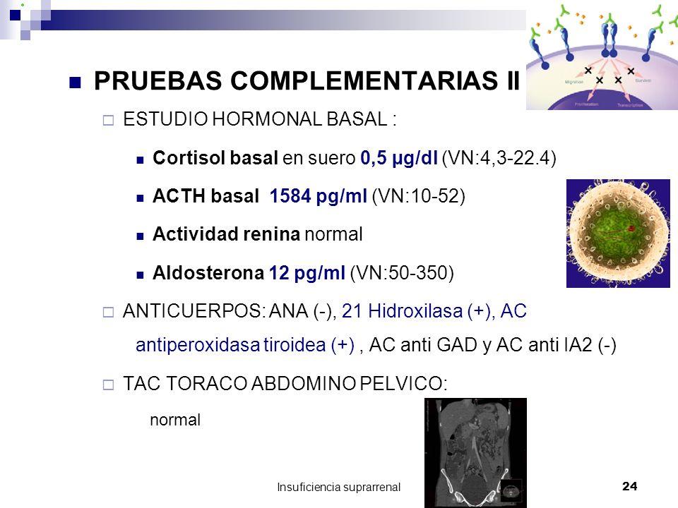 Insuficiencia suprarrenal24 PRUEBAS COMPLEMENTARIAS II ESTUDIO HORMONAL BASAL : Cortisol basal en suero 0,5 µg/dl (VN:4,3-22.4) ACTH basal 1584 pg/ml (VN:10-52) Actividad renina normal Aldosterona 12 pg/ml (VN:50-350) ANTICUERPOS: ANA (-), 21 Hidroxilasa (+), AC antiperoxidasa tiroidea (+), AC anti GAD y AC anti IA2 (-) TAC TORACO ABDOMINO PELVICO: normal