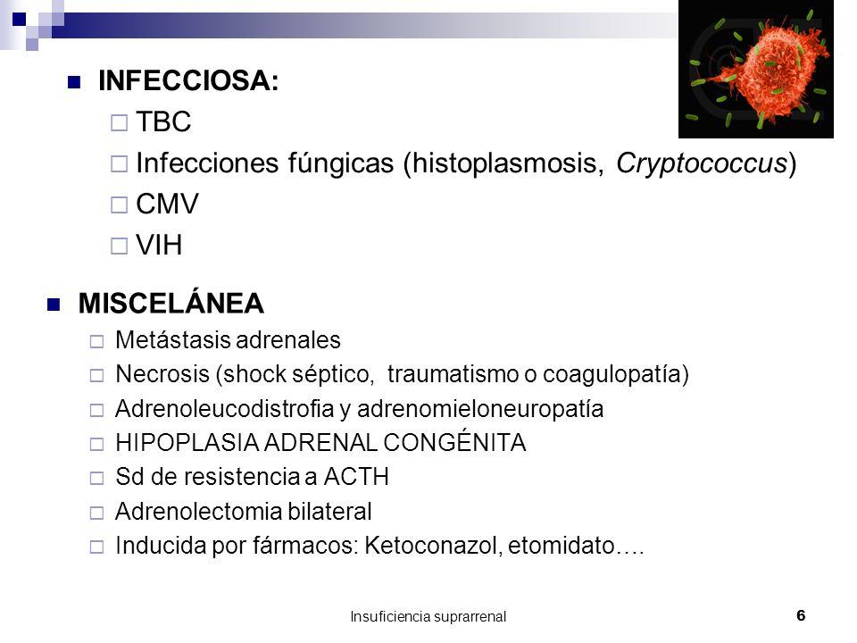 Insuficiencia suprarrenal6 INFECCIOSA: TBC Infecciones fúngicas (histoplasmosis, Cryptococcus) CMV VIH MISCELÁNEA Metástasis adrenales Necrosis (shock séptico, traumatismo o coagulopatía) Adrenoleucodistrofia y adrenomieloneuropatía HIPOPLASIA ADRENAL CONGÉNITA Sd de resistencia a ACTH Adrenolectomia bilateral Inducida por fármacos: Ketoconazol, etomidato….