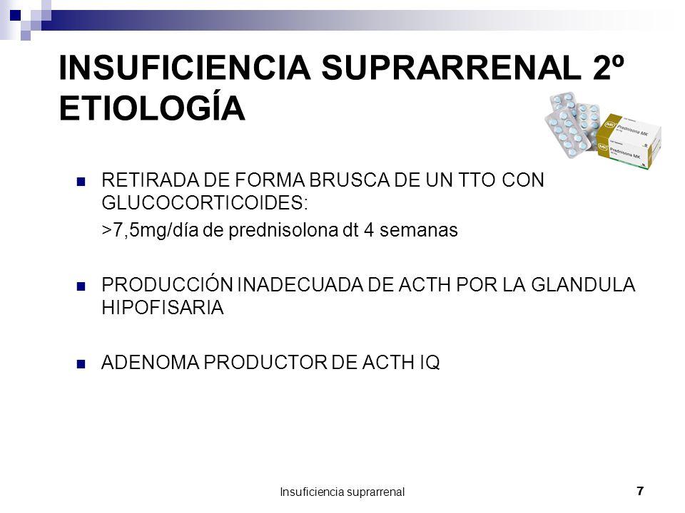 Insuficiencia suprarrenal7 INSUFICIENCIA SUPRARRENAL 2º ETIOLOGÍA RETIRADA DE FORMA BRUSCA DE UN TTO CON GLUCOCORTICOIDES: >7,5mg/día de prednisolona