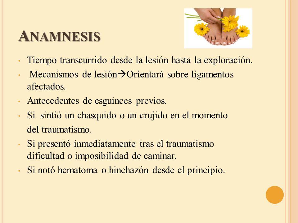 A NAMNESIS Tiempo transcurrido desde la lesión hasta la exploración. Mecanismos de lesión Orientará sobre ligamentos afectados. Antecedentes de esguin