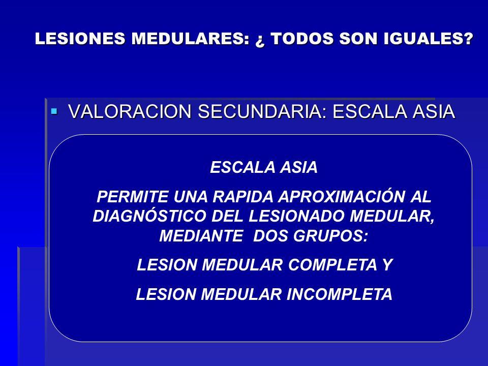 VALORACION SECUNDARIA: ESCALA ASIA VALORACION SECUNDARIA: ESCALA ASIA A: Ausencia de función motora y sensitiva (incluidos los segmentos sacros S4 S5)