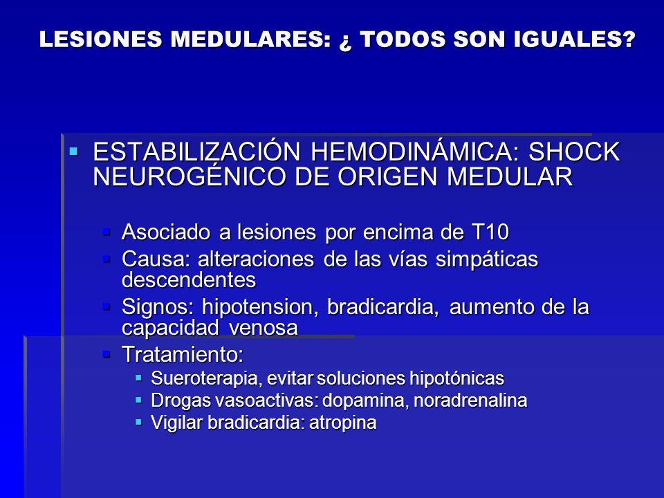 ESTABILIZACIÓN HEMODINÁMICA: SHOCK NEUROGÉNICO DE ORIGEN MEDULAR ESTABILIZACIÓN HEMODINÁMICA: SHOCK NEUROGÉNICO DE ORIGEN MEDULAR Asociado a lesiones