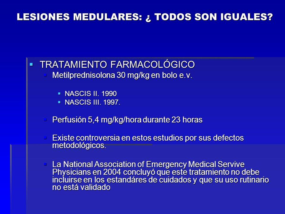 TRATAMIENTO FARMACOLÓGICO TRATAMIENTO FARMACOLÓGICO Metilprednisolona 30 mg/kg en bolo e.v. Metilprednisolona 30 mg/kg en bolo e.v. NASCIS II. 1990 NA