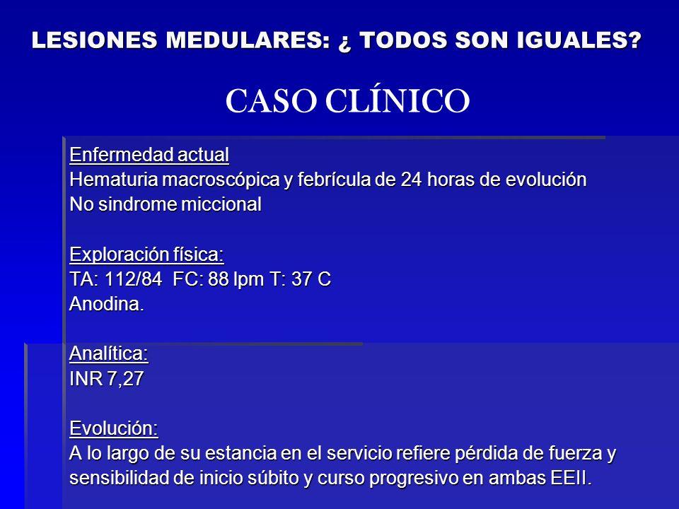 Enfermedad actual Hematuria macroscópica y febrícula de 24 horas de evolución No sindrome miccional Exploración física: TA: 112/84 FC: 88 lpm T: 37 C