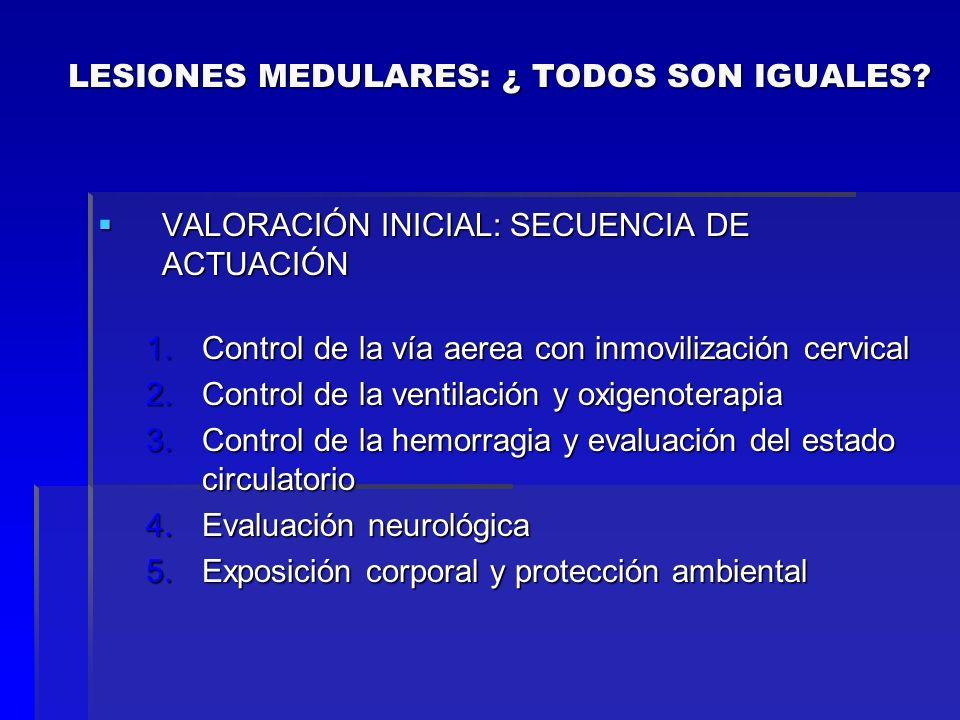 VALORACIÓN INICIAL: SECUENCIA DE ACTUACIÓN VALORACIÓN INICIAL: SECUENCIA DE ACTUACIÓN 1.Control de la vía aerea con inmovilización cervical 2.Control