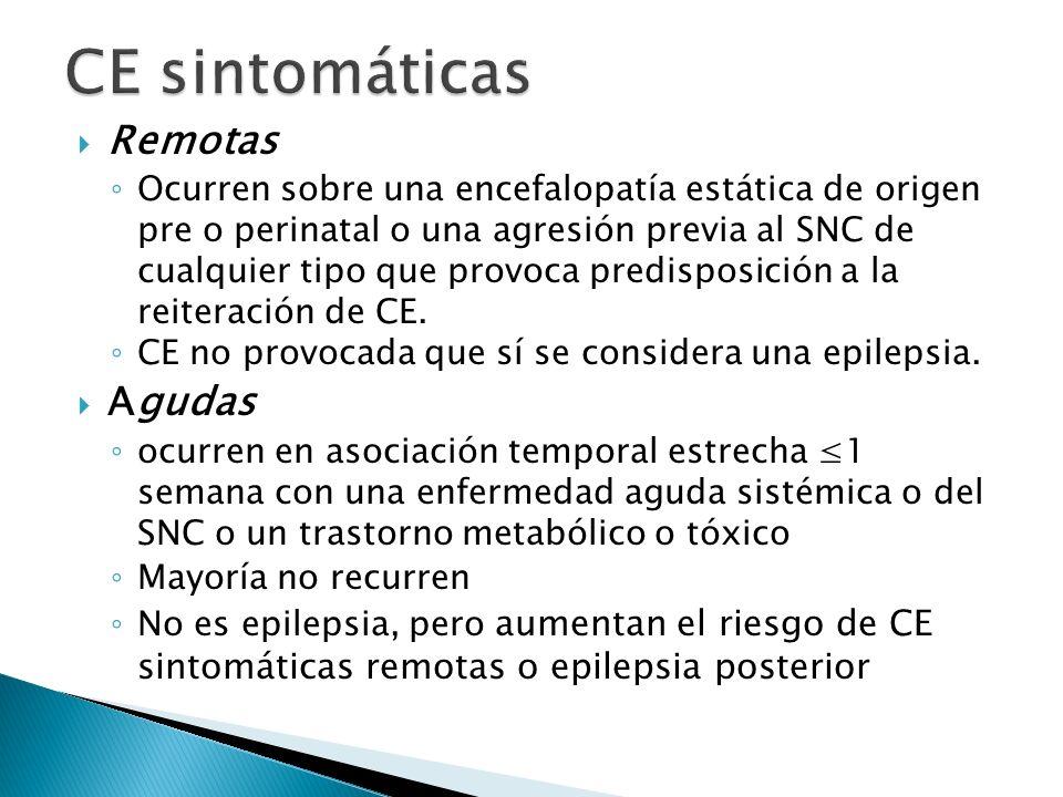 Remotas Ocurren sobre una encefalopatía estática de origen pre o perinatal o una agresión previa al SNC de cualquier tipo que provoca predisposición a la reiteración de CE.