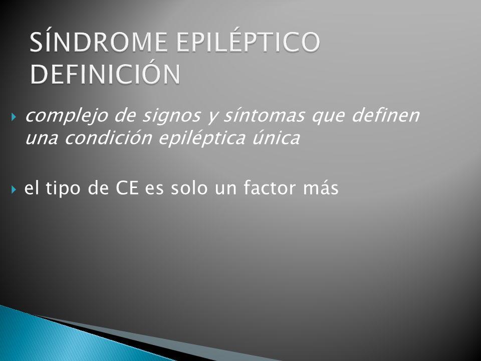 complejo de signos y síntomas que definen una condición epiléptica única el tipo de CE es solo un factor más