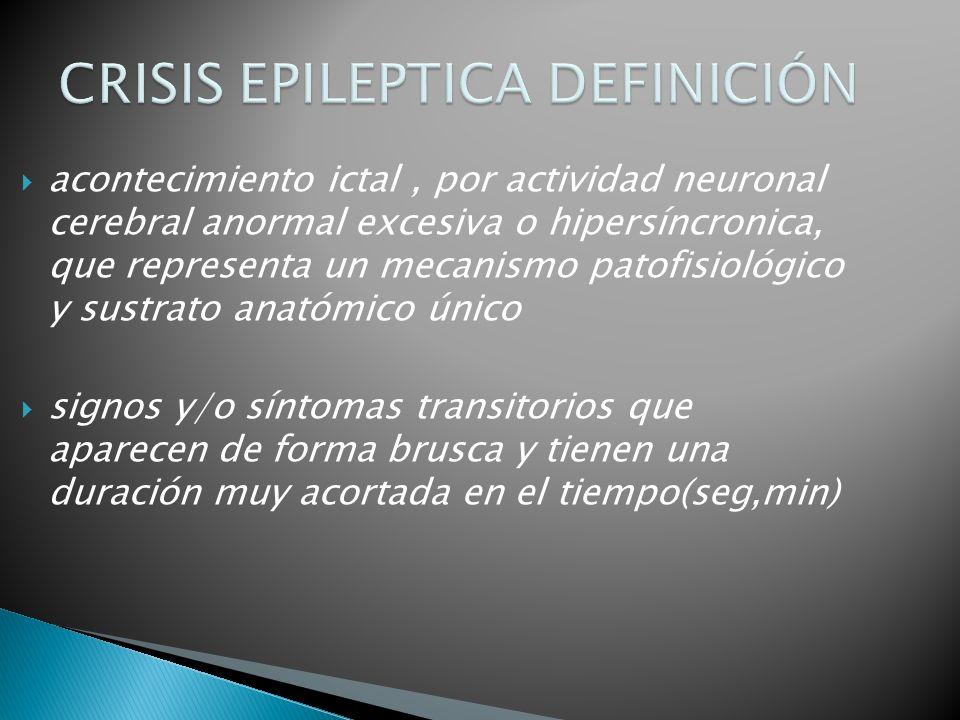 acontecimiento ictal, por actividad neuronal cerebral anormal excesiva o hipersíncronica, que representa un mecanismo patofisiológico y sustrato anatómico único signos y/o síntomas transitorios que aparecen de forma brusca y tienen una duración muy acortada en el tiempo(seg,min)
