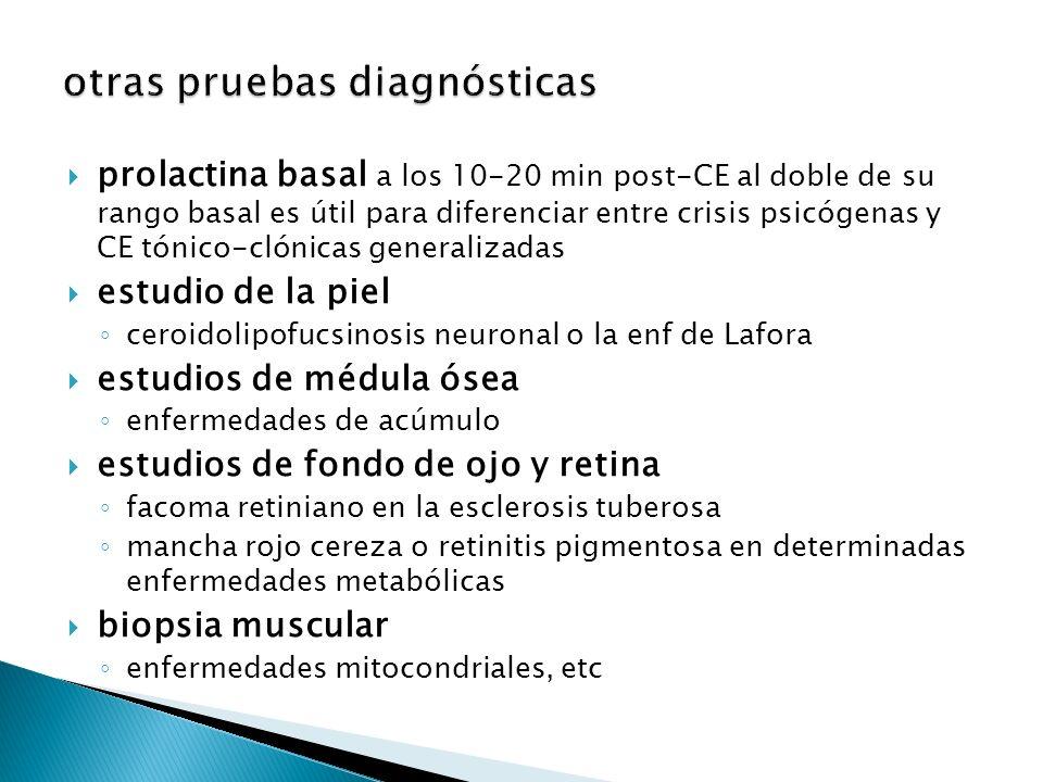 prolactina basal a los 10-20 min post-CE al doble de su rango basal es útil para diferenciar entre crisis psicógenas y CE tónico-clónicas generalizadas estudio de la piel ceroidolipofucsinosis neuronal o la enf de Lafora estudios de médula ósea enfermedades de acúmulo estudios de fondo de ojo y retina facoma retiniano en la esclerosis tuberosa mancha rojo cereza o retinitis pigmentosa en determinadas enfermedades metabólicas biopsia muscular enfermedades mitocondriales, etc