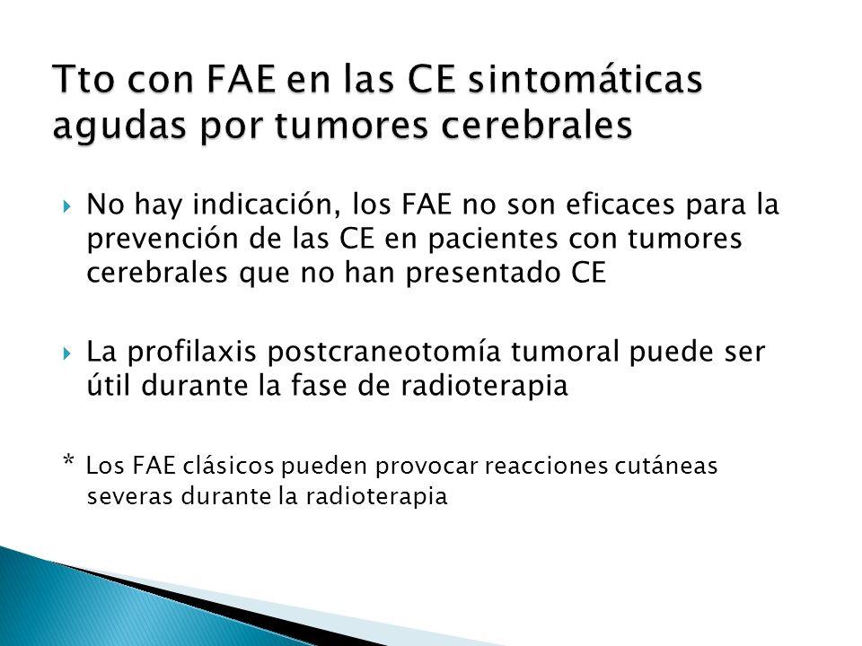 No hay indicación, los FAE no son eficaces para la prevención de las CE en pacientes con tumores cerebrales que no han presentado CE La profilaxis postcraneotomía tumoral puede ser útil durante la fase de radioterapia * Los FAE clásicos pueden provocar reacciones cutáneas severas durante la radioterapia