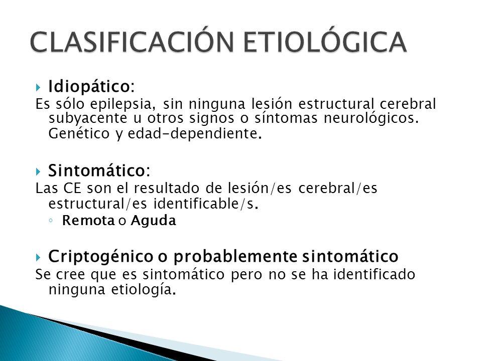Idiopático: Es sólo epilepsia, sin ninguna lesión estructural cerebral subyacente u otros signos o síntomas neurológicos.