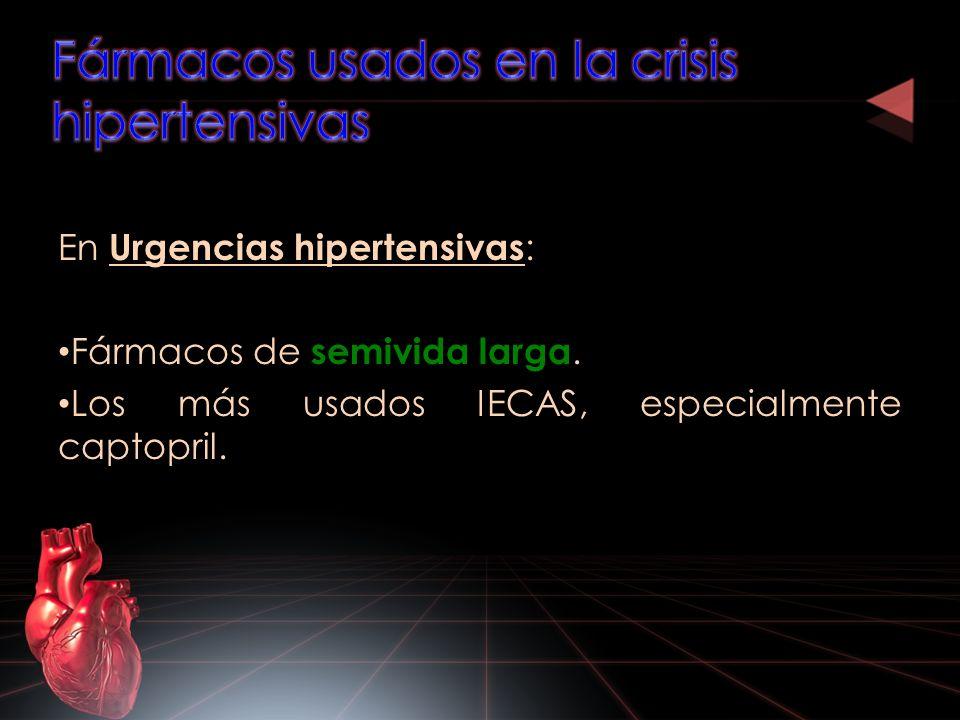 En Urgencias hipertensivas : Fármacos de semivida larga. Los más usados IECAS, especialmente captopril.