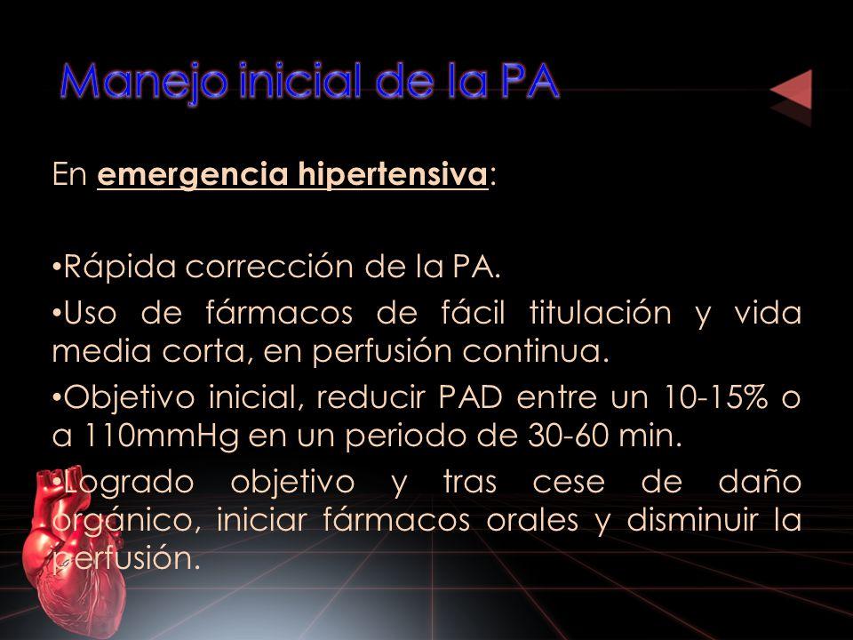 En emergencia hipertensiva : Rápida corrección de la PA. Uso de fármacos de fácil titulación y vida media corta, en perfusión continua. Objetivo inici