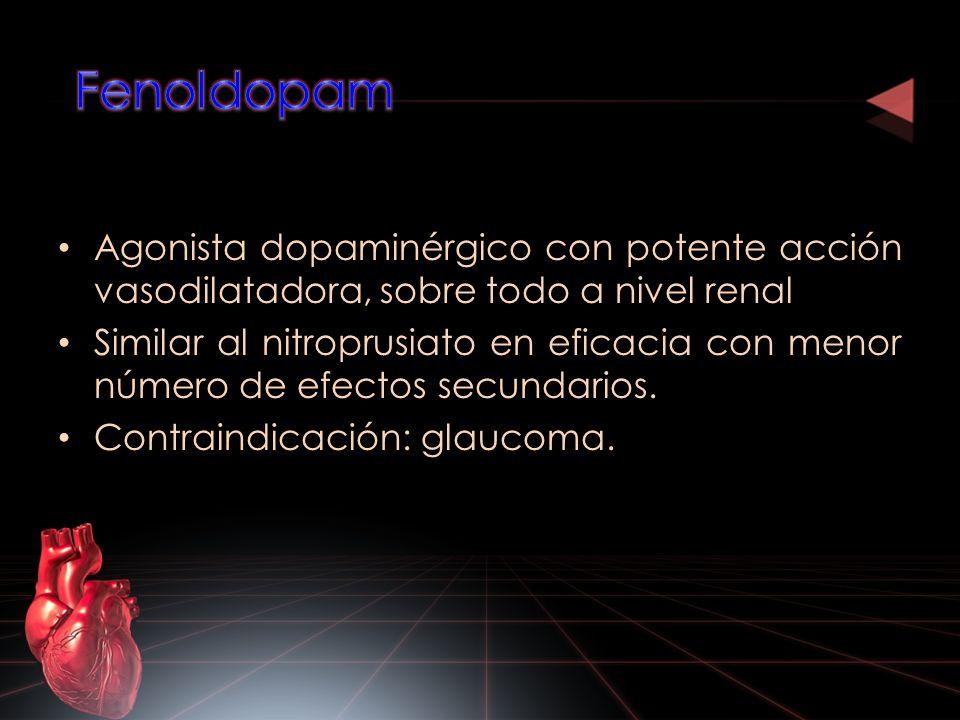 Agonista dopaminérgico con potente acción vasodilatadora, sobre todo a nivel renal Similar al nitroprusiato en eficacia con menor número de efectos se