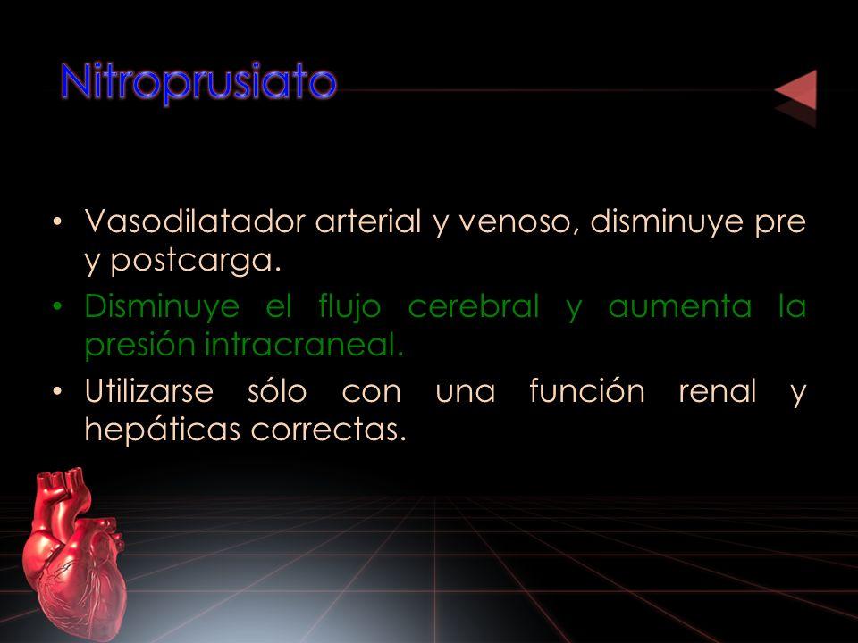 Vasodilatador arterial y venoso, disminuye pre y postcarga. Disminuye el flujo cerebral y aumenta la presión intracraneal. Utilizarse sólo con una fun