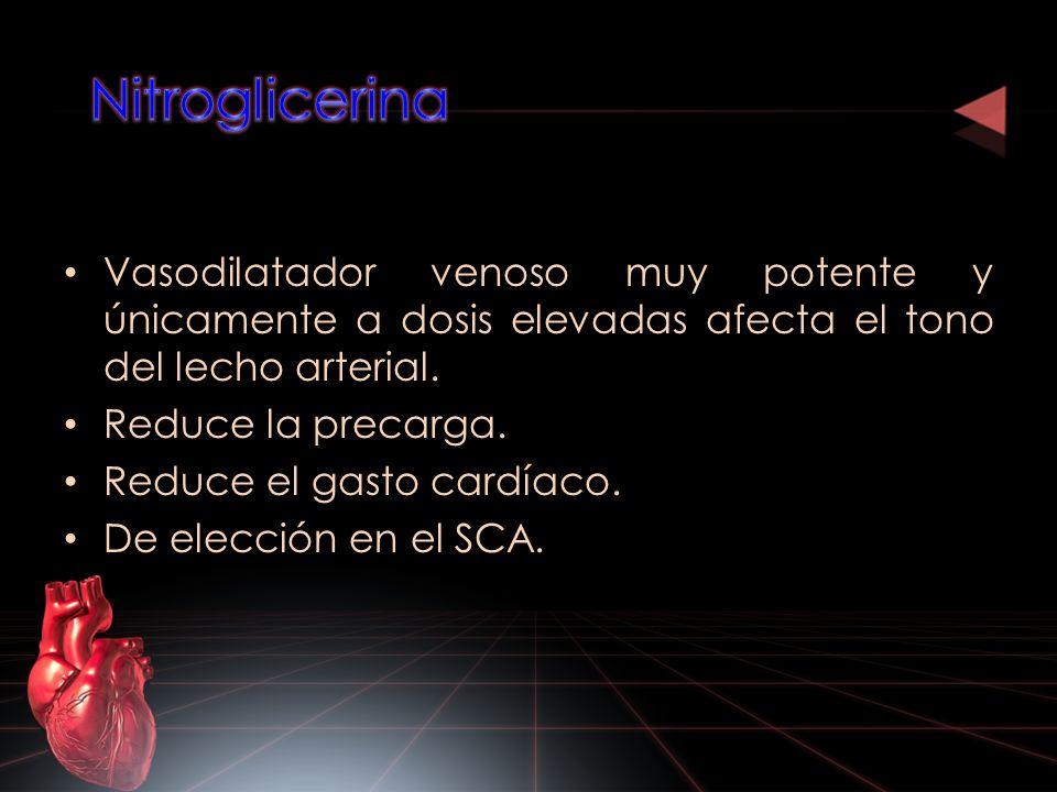 Vasodilatador venoso muy potente y únicamente a dosis elevadas afecta el tono del lecho arterial. Reduce la precarga. Reduce el gasto cardíaco. De ele
