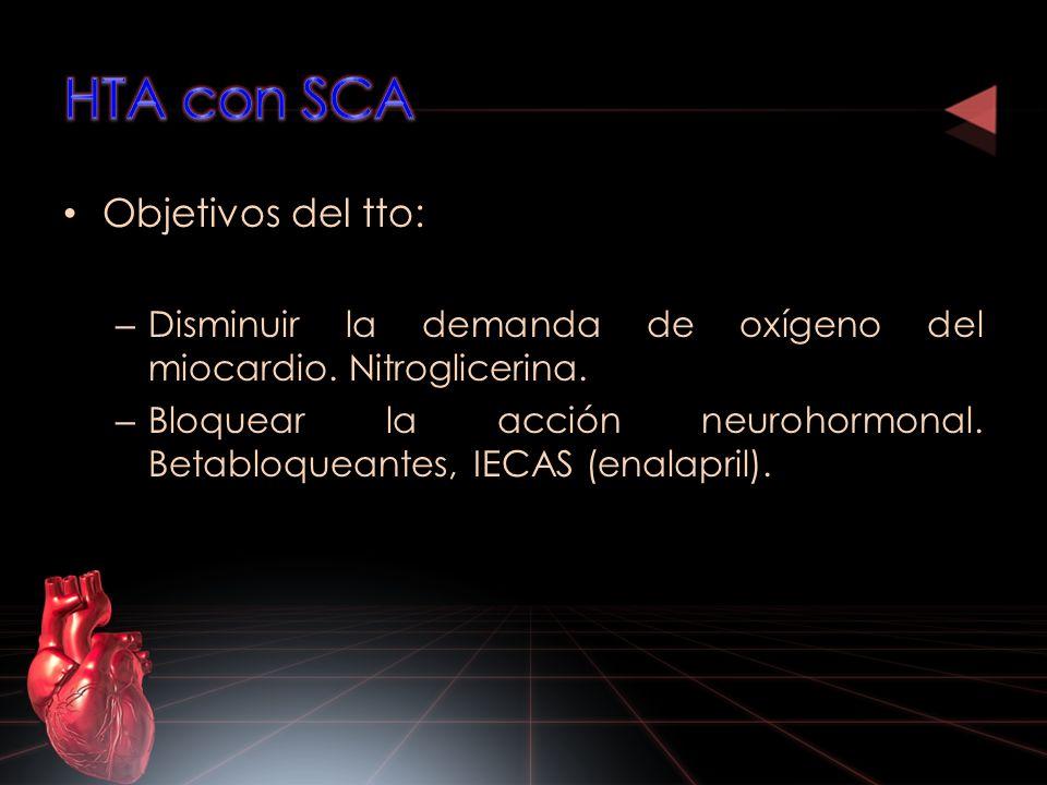 Objetivos del tto: – Disminuir la demanda de oxígeno del miocardio. Nitroglicerina. – Bloquear la acción neurohormonal. Betabloqueantes, IECAS (enalap
