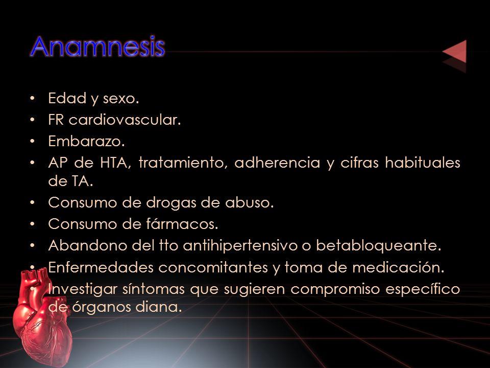 Edad y sexo. FR cardiovascular. Embarazo. AP de HTA, tratamiento, adherencia y cifras habituales de TA. Consumo de drogas de abuso. Consumo de fármaco